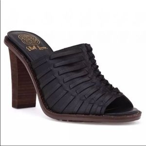 Elliot Lucca Black Leather  Woven Huarache Heels